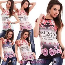 Maglia donna maglietta t-shirt fiori strass maniche corte girocollo nuova Y690