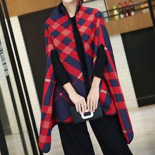 Scarf Cardigans Winter Shawl Wrap Cape Fashion Poncho for Women Men Plaid Grids