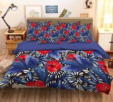 3D Red Petal Bloom 225 Bed Pillowcases Quilt Duvet Single Queen King US Summer