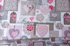 WHITE PINK HEARTS LOVE GREY SCRIPTION PVC VINYL OIL CLOTH TABLE CLOTH PROTECTOR