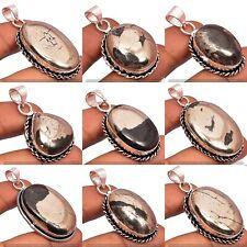 200pcs Pyrite Gemstone Wholesale Lot 925 Sterling Silver Pendants Jewelry