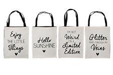NUOVO bianco tela SHOPPING TOTE shopping Bag a libro con scelta di slogan divertente
