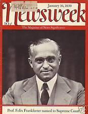 1939 Newsweek Jan 16-Frankfurter named to Supreme Court