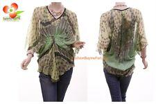 Victorian Renaissance Silk Batwing Chiffon Sheer Cinched Green Blouse Shirt Top