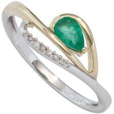 baque bague de femme avec émeraude vert & 7 Brillants Or 585 Or jaune Or blanc
