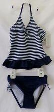 Girls Swimsuit by Jantzen Navy / White Striped Tankini size 4, 5, or 6