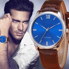 Luxus Herren Armbanduhr Leder Elegant Analog Schwarz Braun Blaues Ziffernblatt