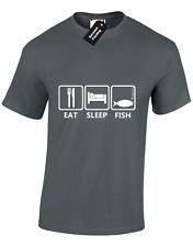 EAT SLEEP FISH Da Uomo T Shirt Pesca Carpa Pesca Sportiva REGALO PAPA 'Idea Regalo Top S-5XL