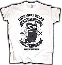 Old School T-shirt commandant Beard Blanc v8 Vintage Custom Biker Hot Rod Barber