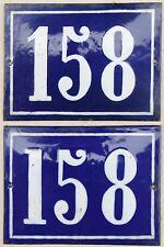 Large old blue French house number 158 door gate plate metal enamel sign - pick