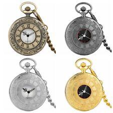Retro Pocket Watch Quartz Necklace Pendant Chain Arabic Roman Numerals Dial Gift