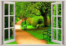 Beauty Nature Walk Way Green Trees 3D Scene Window Sticker Wall Poster Vinyl 359