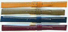 10mm 12mm 14mm FLEURUS FLAT PIGSKIN WATCH BAND - CONTRAST STITCH - LIGHT WEIGHT