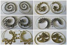 Curly a spirale Infila Ago Orecchini indiano in ottone o argento colore. ALBERO DELLA VITA, Fest