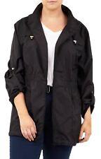 New Womens Plus Size Trouble Maker Slogan Print Hooded Mac Coat Jacket 18-24