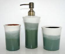 3PC SET TEAL/WHITE CERAMIC BATHROOM SOAP DISPENSER+TOOTHBRUSH HOLDER+TUMBLER-NEW