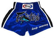 FAIRTEX SATIN SHORTS BS0645 SHARK MUAY THAI KICK BOXING BLUE MMA K1 FIGHT SHORT