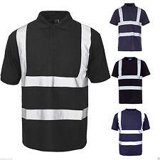 Da Uomo Hi Viz Visibilità Riflettente Polo T Shirt Sicurezza Abbigliamento da Lavoro Sicurezza TOP