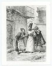 ANTIQUE MEN SURPRISE WHISPERING ECCENTRIC COSTUME DOOR BALCONY MINIATURE PRINT