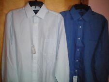 NWT NEW mens white blue CROFT & BARROW l/s cotton no iron dress shirt $59 retail