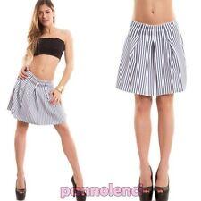 Falda mujer minifalda pliegues rueda rayas talle alto volante nueva CC-1334