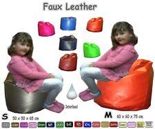 Kids Faux Leather Classic Bean Bags Childrens Beanbag Chair Bean Bag Pre-Filled