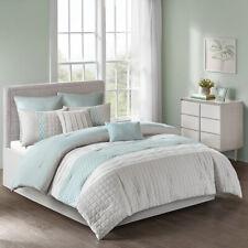 Elegant Grey Seafoam Pleated Comforter 8 pcs Cal King Queen Set