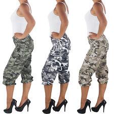 Damen Shorts Capri Hot Pants Bermuda Cargo Army Armee Kurze Camouflage 3/4 Hose.