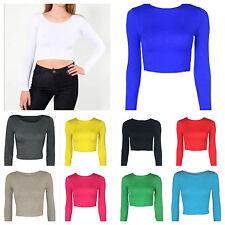 Crop Top para Mujer Cuello Redondo Manga Larga Camisetas Tops Ladies Crop Top Tamaños 8-14