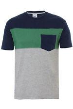 Addict Colour Block Slub T-Shirt In Navy/Green