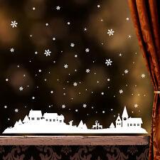 10476 wandtattoo-loft pegatinas de ventana Invierno Pueblo Con Copos Nieve