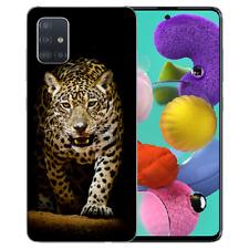 Samsung Galaxy A51 Silikon TPU Handy Hülle mit Bilddruck Leopard beim Jagd Etui