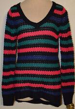 Women's Rue 21 Black Pink Blue Stripe Long Sleeve V-Neck Sweater Top Sizes S, M