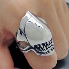 Men High Polished Alien Skull Stainless Steel Biker Ring