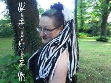 GOTHIC HEXE DREADLOCKS Diva Haarteil SCHWARZ PLATIN Tribal Fusion WICCA DREADS