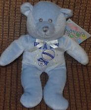 Petting Zoo Blue Teddy Bear Rattle Plush Baby Toy NWT