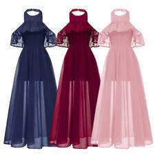 Fashion Women Halter Evening Bridesmaid Dress Cape Sleeve Shawl Party Dresses
