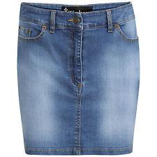 DeMina Womens Ladies Faded Denim Jean Short Stretch Stone Wash Mini Skirt-Dianne
