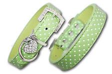 PU Cuoio per Cani Collare Diamante Colletto PET Cucciolo Verde Piccolo Medio Grande A Pois