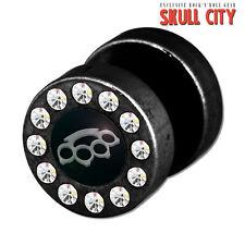 Knuckleduster Funky Fakeplug-Fake piercing Picture Plug orecchini a bottone tira pugni