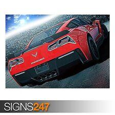 RED CHEVROLET CORVETTE C7 (AA698) CAR POSTER - Poster Print Art A0 A1 A2 A3