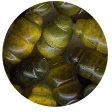 124002**Olivette verre OEIL DE CHAT 8X4mm KAKI x20