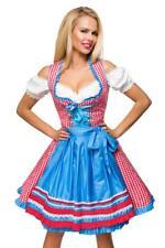 Robe oktoberfest fete biere dirndl allemand serveuse deguisement carreaux ROUGE