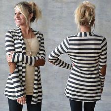 Womens Long Sleeve Knitted Sweater  Striped Jumper Ladies Knitwear Cardigan Coat