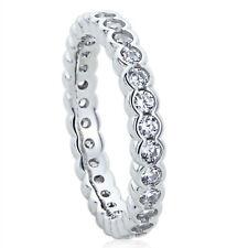 Women 3MM Sterling Silver Wedding Ring CZ Flat Top Eternity Ring Wedding Band