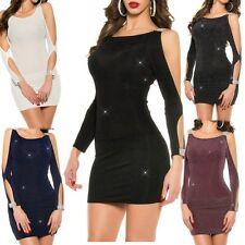 ♥ Sexy Miss Damen Long Shirt Mini Kleid Arme offen strass look 34/36/38 Lurex