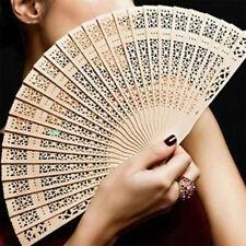 Vintage Wooden Bamboo Hollow Carved Folding Hand Fan Handmade Souvenir Present