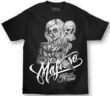 Mafioso Skully Gangster Girl Skeleton Punk Goth Rock Urban Tattoo T Shirt M-4Xl