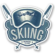 2 x 10cm Skiing Vinyl Sticker iPad Laptop Car Luggage Ski Goggles Poles #4909