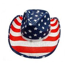 Strohhut Cowboyhut Westernhut Hut Flagge USA mit Hutband und Kinnband